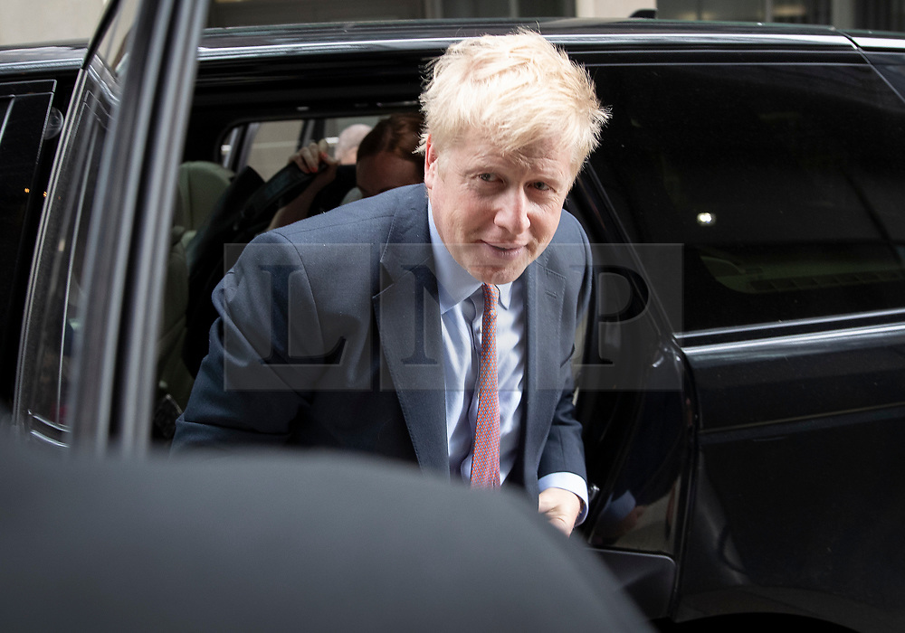 © Licensed to London News Pictures. 15/06/2019. London, UK. Conservative Party leadership candidate Boris Johnson arrives at a hustings event in central London. The remaining candidates in the leadership race will face a second round of votes in Parliament on Tuesday next week. Photo credit: Peter Macdiarmid/LNP