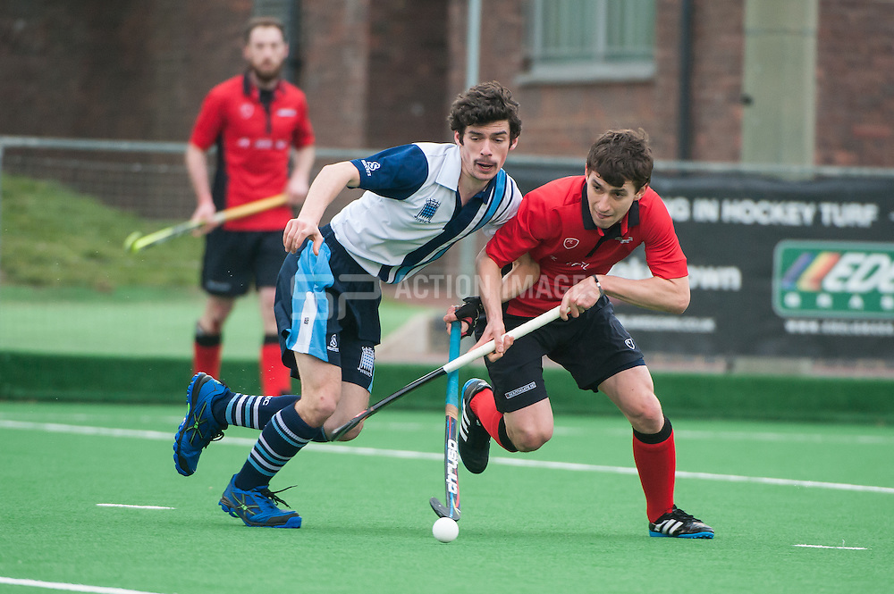 Southgate's Timmy Smyth is challenged by James Simpson of Hampstead & Westminster.Southgate v Hampstead & Westminster - Now: Pensions Hockey League Premier Division, Trent Park, London, UK on 14 March 2015. Photo: Simon Parker