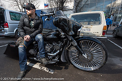 On a custom bagger after the Custom and Tuning Show, the custom bike show portion of the big Motor Spring bike show in Moscow, Russia. Sunday April 23, 2017. Photography ©2017 Michael Lichter.
