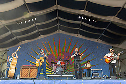 May 3, 2018 - New Orleans, Louisiana, U.S - MORGAN JAHNIG, CRITTER FUQUA, CORY YOUNTS, KETCH SECOR and CHANCE MCCOY of Old Crow Medicine Show during 2018 New Orleans Jazz and Heritage Festival at Race Course Fair Grounds in New Orleans, Louisiana (Credit Image: © Daniel DeSlover via ZUMA Wire)
