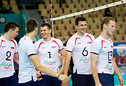 Alen Pajenk, Klemen Cebulj, Davor Cebron, Mitja Gasparini and Tine Urnaut of SLovenia during volleyball match between National Teams of Slovenia and Belgium of 2011 CEV Volleyball European League Men - Pool A, on July 9, 2011, in  Arena Ljudski vrt Lukna, Maribor, Slovenia. Slovenia defeated Belgium 3-1. (Photo by Vid Ponikvar / Sportida)