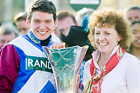 National Hunt Horse Racing - 2017 Randox Grand National Festival - Saturday, Day Three [Grand National Day]<br /> <br /> Derek Fox winning jockey & Lucinda Russell, trainer, of One For Arthur winner of the 5.15, the Randox Health Grand National  with the trophy  at Aintree Racecourse.<br /> <br /> COLORSPORT/WINSTON BYNORTH<br /> <br /> <br /> <br /> <br /> <br /> <br /> <br /> <br /> <br /> <br /> National Hunt Horse Racing - 2017 Randox Grand National Festival - Saturday, Day Three [Grand National Day]<br /> <br />  in the 1st race the 1.45 Gaskells Handicap Hurdle at Aintree Racecourse.<br /> <br /> COLORSPORT/WINSTON BYNORTH