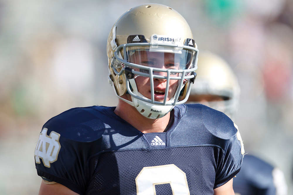 Notre Dame tight end Kyle Rudolph (#9) during NCAA football game between Pittsburgh and Notre Dame.  The Notre Dame Fighting Irish defeated the Pittsburgh Panthers 23-17 in game at Notre Dame Stadium in South Bend, Indiana.