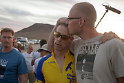 Jan-Marcel van Dijken (midden) wordt door zijn ploeggenoot Thomas van Schaik getroost nadat bekend is geworden dat zijn tijd niet is geregistreerd op de vijfde racedag van de WHPSC. In de buurt van Battle Mountain, Nevada, strijden van 10 tot en met 15 september 2012 verschillende teams om het wereldrecord fietsen tijdens de World Human Powered Speed Challenge. Het huidige record is 133 km/h.<br /> <br /> Thomas van Schaik (right) comforts Jan-Marcel van Dijken when he found out his time was not measured on the fifth day of the WHPSC. Near Battle Mountain, Nevada, several teams are trying to set a new world record cycling at the World Human Powered Vehicle Speed Challenge from Sept. 10th till Sept. 15th. The current record is 133 km/h.