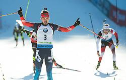 SHIPULIN Anton (RUS) celebrates at finish line during Men 15 km Mass Start at day 4 of IBU Biathlon World Cup 2014/2015 Pokljuka, on December 21, 2014 in Rudno polje, Pokljuka, Slovenia. Photo by Vid Ponikvar / Sportida