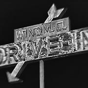Windmill Drive Inn Sign - Kingsburg, CA - Highway 99 - HDR - Lensbaby - Infrared Black & White