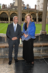 """LADY PENNY MOUNTBATTEN and RUMI VERJEE at a private view to view """"The Coronation Theatre: Portrait of Her Majesty Queen Elizabeth II"""" painted by Ralph Heimans held at Westminster Abbey, London on 12th September 2013."""