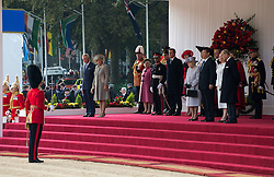 © London News Pictures 20/10/2015. HM The Queen, HRH The Duke of Edinburgh, The Duke and Duchess of Cornwall, the Prime Minister, Senior members of the Cabinet, the Lord Mayor of London, the Mayor of London, and the Defence Chiefs of Staff for the ceremonial welcome to Britain of The President of The People's Republic of China and Madame Peng Liyuan. . Photo credit: Rupert Frere/LNP