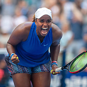 2019 US Open Tennis Tournament- Day Four.  Taylor Townsend of the United States celebrates her victory against Simona Halep of Romania in the Women's Singles Round Two match on Arthur Ashe Stadium at the 2019 US Open Tennis Tournament at the USTA Billie Jean King National Tennis Center on August 29th, 2019 in Flushing, Queens, New York City.  (Photo by Tim Clayton/Corbis via Getty Images)