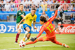 July 2, 2018 - Samara, Russia - 180702 Neymar of Brazil and goalkeeper Guillermo Ochoa of Mexico during the FIFA World Cup round of 16 match between Brazil and Mexico on July 2, 2018 in Samara..Photo: Petter Arvidson / BILDBYRÃ…N / kod PA / 92081 (Credit Image: © Petter Arvidson/Bildbyran via ZUMA Press)