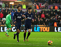 CELE - Tottenham Hotspur's Dele Alli celebrates scoring his side's second goal <br /> <br /> Photographer Ashley Crowden/CameraSport<br /> <br /> The Premier League - Swansea City v Tottenham Hotspur - Tuesday 2nd January 2018 - Liberty Stadium - Swansea<br /> <br /> World Copyright © 2018 CameraSport. All rights reserved. 43 Linden Ave. Countesthorpe. Leicester. England. LE8 5PG - Tel: +44 (0) 116 277 4147 - admin@camerasport.com - www.camerasport.com