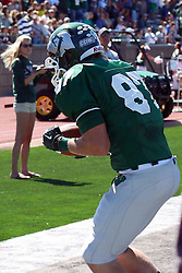 08 September 2012:  Taylor Dee catches a pass for a touchdown during an NCAA division 3 football game between the Alma Scots and the Illinois Wesleyan Titans which the Titans won 53 - 7 in Tucci Stadium on Wilder Field, Bloomington IL