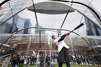 Kris Bryant takes batting practice along the Chicago River during a Red Bull BP session in Chicago