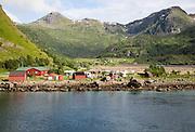 Scenery and mountains campsite Raftsundet strait of Hinnoya Island, Nordland, northern Norwaya