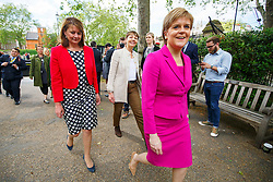 © Licensed to London News Pictures. 23/05/2016. London, UK. Caroline Lucas MP for The Green Party, Plaid Cymru leader Leanne Wood and Scottish First Minister and Leader of the SNP Nicola Sturgeon arriving at Emmeline Pankhurst memorial statue for a photocall in Victoria Tower Gardens, London on Monday, 23 May 2016 as they make the progressive case in favour of a Remain vote in next month's EU Referendum. Photo credit: Tolga Akmen/LNP