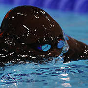Malick Fall, Senagal, in action during the Men's 100m Breaststroke during the swimming heats at the Aquatic Centre at Olympic Park, Stratford during the London 2012 Olympic games. London, UK. 28th July 2012. Photo Tim Clayton