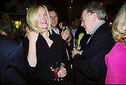 Elizabeth Murdoch and Sir David Frost. Talk pre-Bafta party. St. Martin's Lane hotel. London. 24 February 2001. © Copyright Photograph by Dafydd Jones 66 Stockwell Park Rd. London SW9 0DA Tel 020 7733 0108 www.dafjones.com