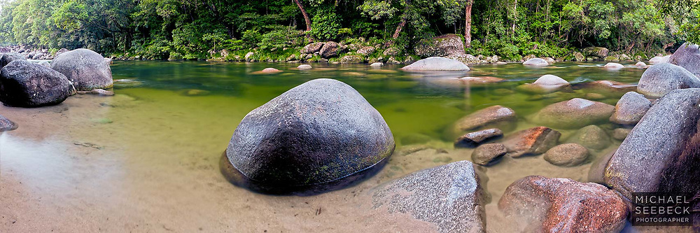 This smooth boulder at a small beach on Mossman Gorge has literally been sat on by thousands of people over the years...<br /> <br /> Code: HAQT0066<br /> <br /> Open Edition Print / Stock Image