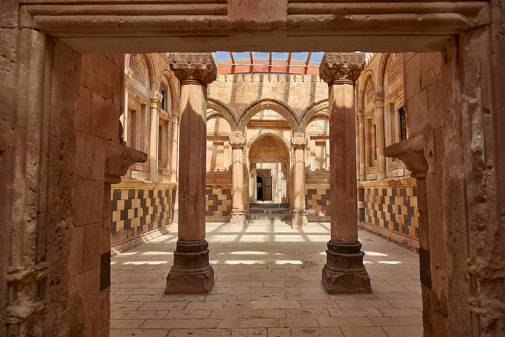 Main Hall in the Hareem of the 18th Century Ottoman architecture of the Ishak Pasha Palace (Turkish: İshak Paşa Sarayı) ,  Agrı province of eastern Turkey. .<br /> <br /> If you prefer to buy from our ALAMY PHOTO LIBRARY  Collection visit : https://www.alamy.com/portfolio/paul-williams-funkystock/ishak-pasha-palace-turkey.html<br /> <br /> Visit our TURKEY PHOTO COLLECTIONS for more photos to download or buy as wall art prints https://funkystock.photoshelter.com/gallery-collection/3f-Pictures-of-Turkey-Turkey-Photos-Images-Fotos/C0000U.hJWkZxAbg