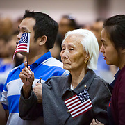 More than 10,200 immigrants are sworn in as United States citizens on August 22, 2017 ceremony in Los Angeles.