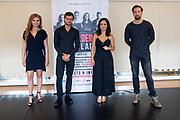 AMSTERDAM, 20-08-2020 , Polanentheater<br /> <br /> perspresentatie van de musical Murder Ballad in de Grote Spiegelzaal van het Polanentheater<br /> <br /> Op de foto: <br />  Vajèn van den Bosch, Jonathan Demoor, Cystine Carreon, Buddy Vedder