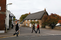 A row of thatched roof cottages in Oakham; County town in ancient Rutland twinned with Barnstedt,