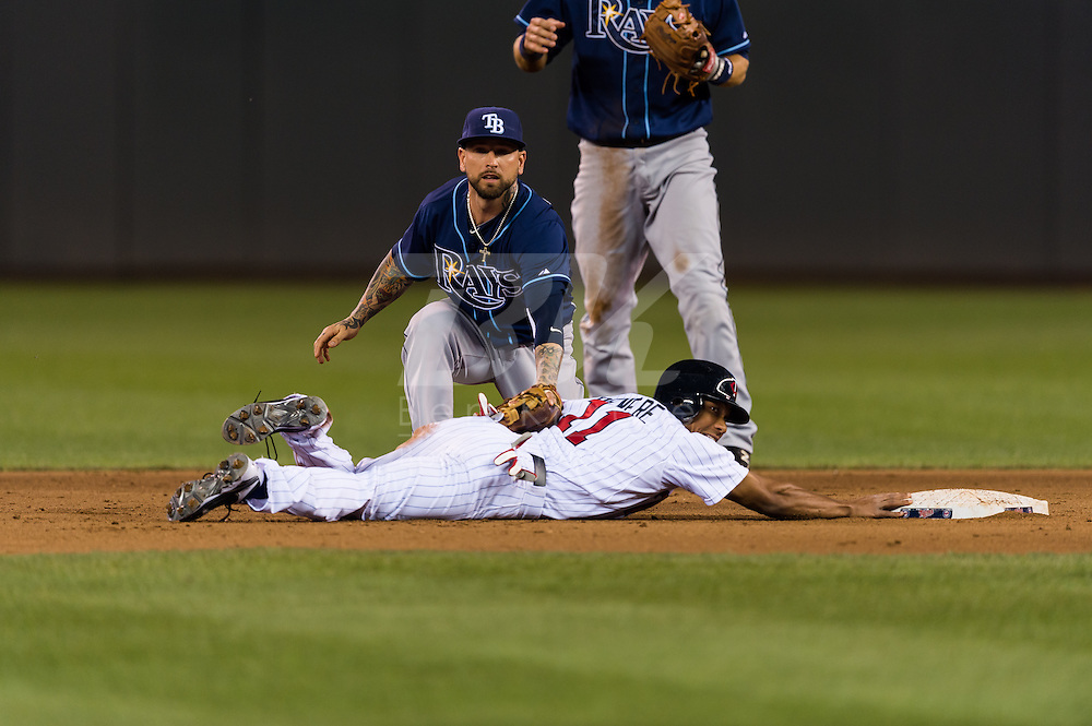 Ben Revere (11) of the Minnesota Twins is tagged out at 2nd base after over sliding by Ryan Roberts (19) of the Tampa Bay Rays on August 10, 2012 at Target Field in Minneapolis, Minnesota.  The Rays defeated the Twins 12 to 6.  Photo: Ben Krause