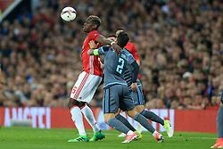 11th May 2017 - UEFA Europa League - Semi Final (2nd Leg) - Manchester United v Celta Vigo - Paul Pogba of Man Utd battles with Hugo Mallo of Celta Vigo - Photo: Simon Stacpoole / Offside.