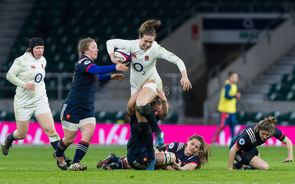 Emily Scarratt in action, England Women v France Women in a 6 Nations match at Twickenham Stadium, London, England, on 4th February 2017 Final Score 26-13.