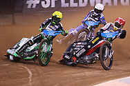 Patryk Dudek and Maciej Janowski battle it out for the lead during the 2019 Adrian Flux British FIM Speedway Grand Prix at the Principality Stadium, Cardiff, Wales on 21 September 2019.