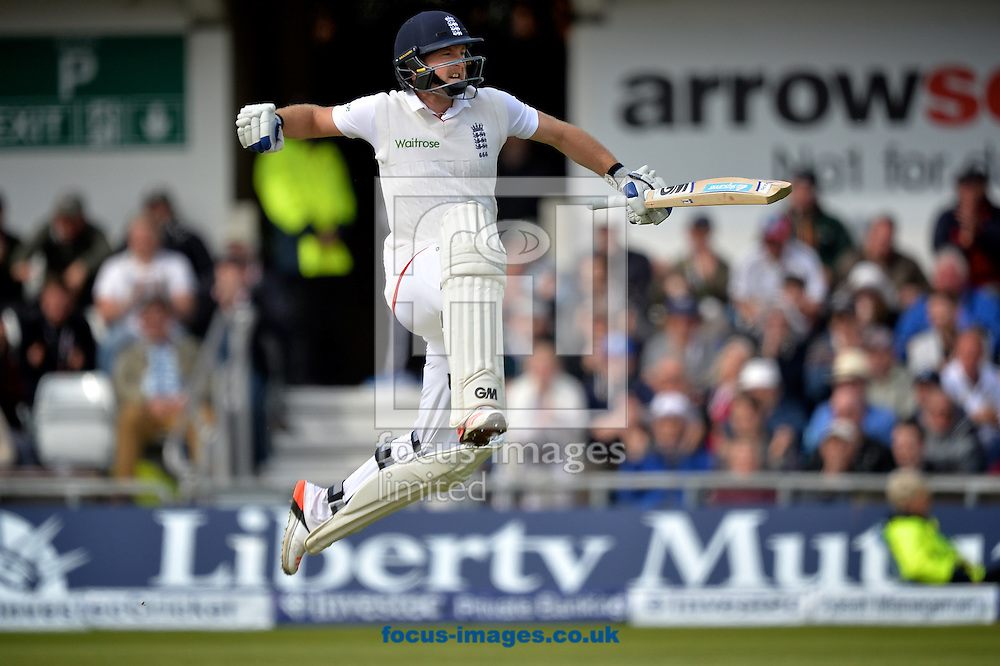 Adam Lyth of England celebrates his maiden test century during the Investec Test Match match at Headingley Carnegie Cricket Ground, Headingley<br /> Picture by Ian Wadkins/Focus Images Ltd +44 7877 568959<br /> 30/05/2015