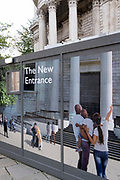 A construction hoarding shows visitors what will be the new north entrance to St Paul's Cathedral in the City of London, on 26th October 2020, in London, England.