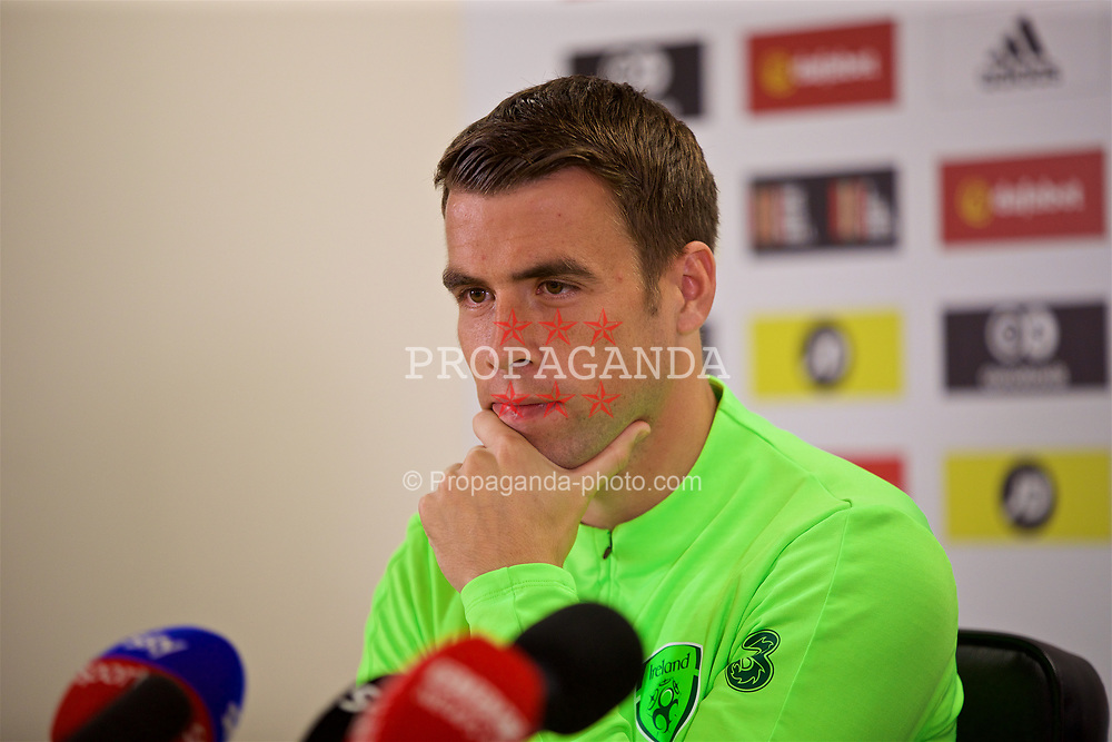 CARDIFF, WALES - Wednesday, September 5, 2018: Republic of Ireland's captain Séamus Coleman during a press conference at the Cardiff City Stadium ahead of the UEFA Nations League Group Stage League B Group 4 match between Wales and Republic of Ireland. (Pic by David Rawcliffe/Propaganda)