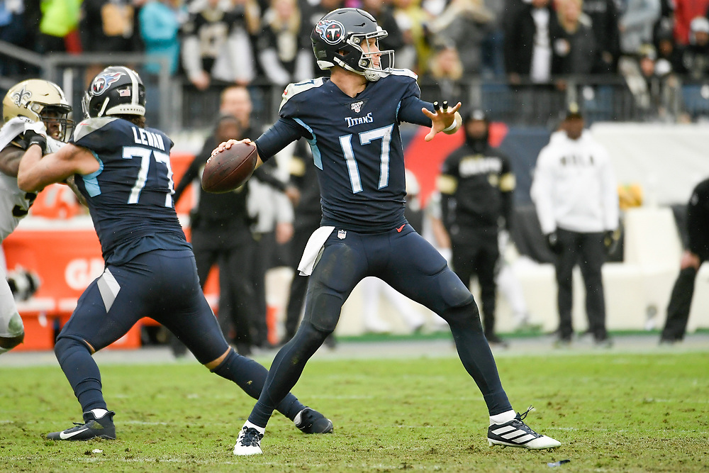 Tennessee Titans Quarterback Ryan Tannehill (17) throws a pass during a game between the New Orleans Saints and Tennessee Titans at Nissan Stadium in Nashville, TN December 22, 2019