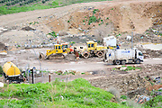 Israel, Galilee, The Hagal landfill started operation in 1999 and receives 1200 tons a day heavy equipment work on distributing the waste