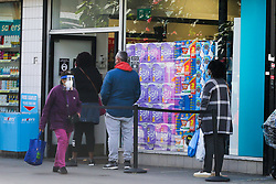 © Licensed to London News Pictures. 25/09/2020. London, UK. Shoppers queue outside Savers store in London, as supermarkets start to run out of essential items, amidst a possible second lockdown due to a rise in COVID-19 cases. A number of supermarkets are restricting shoppers from bulk-buying products such as flour, pasta, toilet rolls and anti-bacterial wipes. Photo credit: Dinendra Haria/LNP