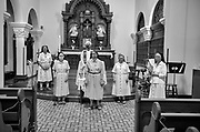 Poor Clare Nuns with masks, first Mass when outsiders could attend