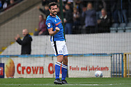 GOAL Joe Rafferty celebrates scoring  2-0 during the EFL Sky Bet League 1 match between Rochdale and Gillingham at Spotland, Rochdale, England on 23 September 2017. Photo by Daniel Youngs.