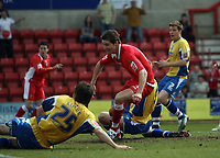 Photo: Rich Eaton.<br /> <br /> Swindon Town v Mansfield Town. Coca Cola League 2. 21/04/2007. Barry Corr left celebrates scoring the opening goal of the game for Swindon