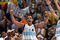 29/08/04 - ATHENS  - GREECE -  - BASKETBALL SEMIFINAL MATCH   - Indoor Olympic Stadium - <br />ARGENTINA win over ITALY and win the GOLD MEDAL<br />Argentine celebration after win the match.<br />Here ALEJANDRO MONTECCHIA celebration.<br />© Gabriel Piko / Argenpress.com / Piko-Press