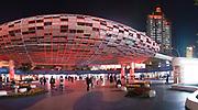Motorway flyover over pedestrian shopping precinct in Shanghai Shanghai