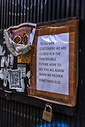 Closed shop sign during the coronavirus pandemic on the 4th May 2020 in London, United Kingdom.