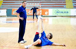 Head coach Miro Pozun and Luka Zvizej at practice of Slovenian Handball Men National Team, on June 4, 2009, in Arena Kodeljevo, Ljubljana, Slovenia. (Photo by Vid Ponikvar / Sportida)