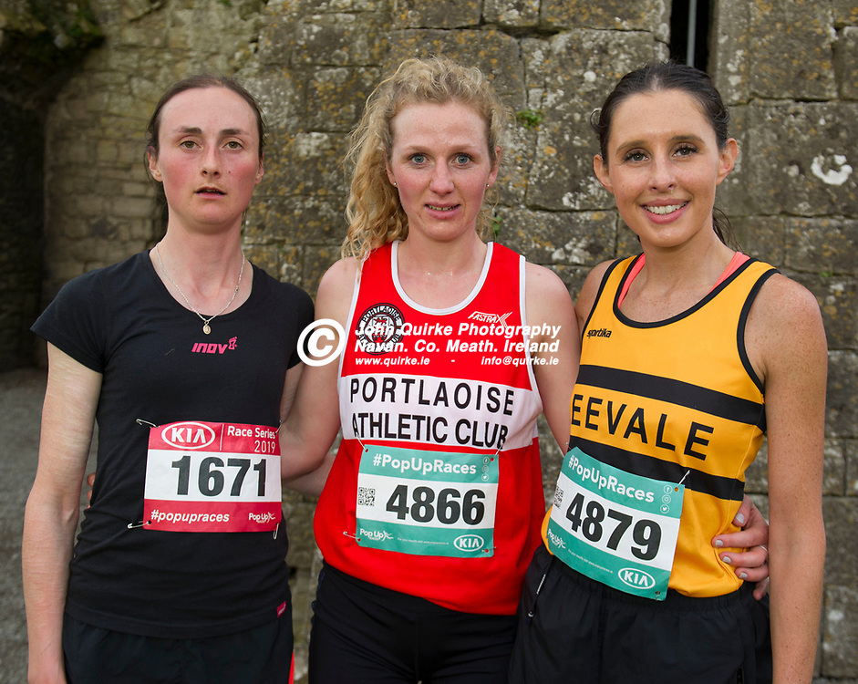 14-06-19. Trim AC Braveheart 5k Trail Run at the Poachfields, Trim. <br /> First Three Ladies from left, Isobel Oakes (3rd.), Mary Mulhare (1st.), Portlaoise AC and Sinead O'Connor (2nd.), Leevale AC.<br /> Photo: John Quirke / www.quirke.ie<br /> ©John Quirke Photography, Unit 17, Blackcastle Shopping Cte. Navan. Co. Meath. 046-9079044 / 087-2579454.