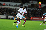 Bafetimbi Gomis of Swansea city in action. Barclays Premier league match, Swansea city v West Ham Utd at the Liberty Stadium in Swansea, South Wales  on Sunday 20th December 2015.<br /> pic by  Andrew Orchard, Andrew Orchard sports photography.