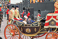 LONDON - JUNE 05: Prince William and Kate; The Duke and Duchess of Cambridge; Prince Harry of Wales, The Queen's Diamond Jubilee Royal carriage procession, The Mall, London, UK. June 05, 2012. (Photo by Richard Goldschmidt)