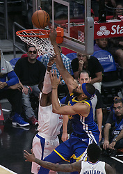 October 30, 2017 - Los Angeles, California, U.S - JaVale McGee #1 of the Golden State Warriors dunks the ball during their NBA game with the Los Angeles Clippers on Monday October 30, 2017 at the Staples Center in Los Angeles, California. Clippers v Warriors. Clippers lose to Warriors, 141-113. (Credit Image: © Prensa Internacional via ZUMA Wire)