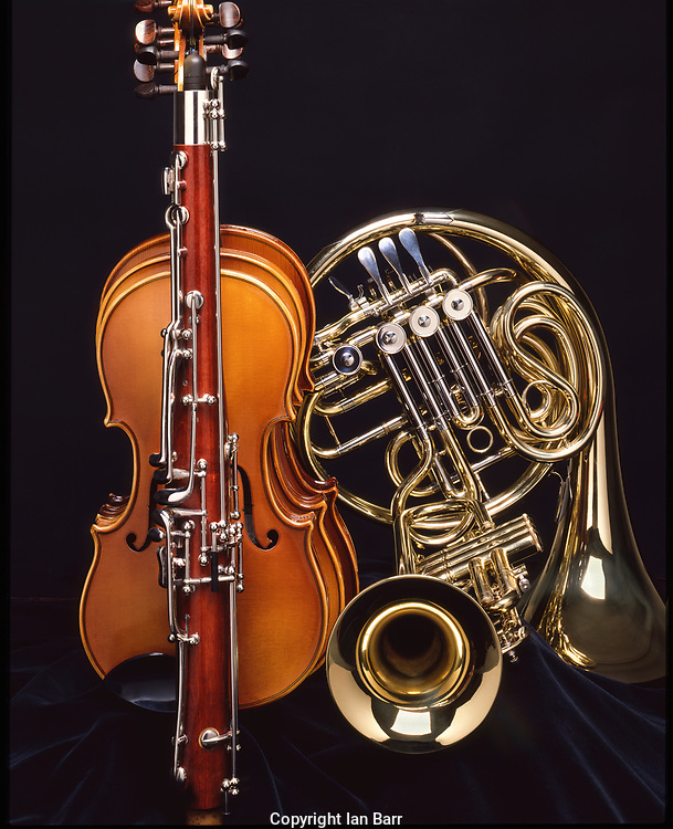 A compilation of Viola, Violins, Oboe, French horn and Trumpet  put together to form a Musical Montage of Orchestral instruments.