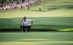August 5, 2018 - Akron, OH, U.S. - AKRON, OH - AUGUST 05:   Ian Poulter (GBR) lines up his putt on the 16th green during the final round of the World Golf Championships - Bridgestone Invitational on August 5, 2018 at the Firestone Country Club South Course in Akron, Ohio. (Photo by Shelley Lipton/Icon Sportswire) (Credit Image: © Shelley Lipton/Icon SMI via ZUMA Press)