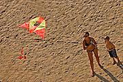 flying a kite on the Natanya beach, Israel